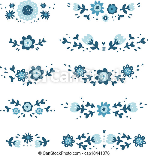 décoratif, floral, compositions, collection - csp18441076