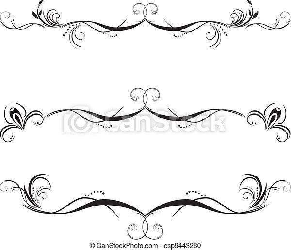 décoratif, floral, frontières, trois - csp9443280