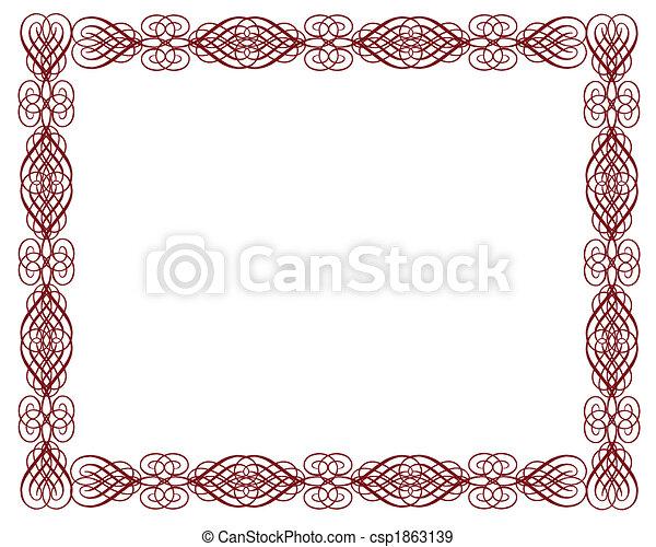 décoratif, frontière, certificat, rouges - csp1863139