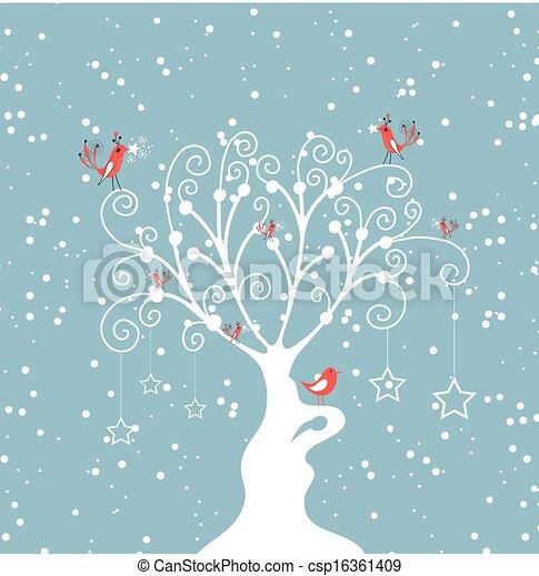 décoratif, hiver arbre - csp16361409