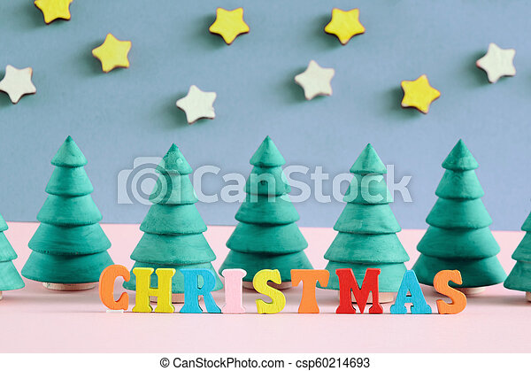 décoratif, inscription, fait, arbres., letters., multi-coloré, petit, noël - csp60214693