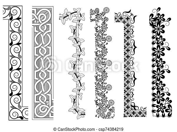 décoratif, intérieur, seamless, motifs, coin, frontière, extérieur - csp74384219