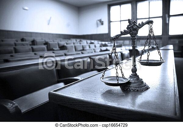 décoratif, justice, salle audience, balances - csp16654729