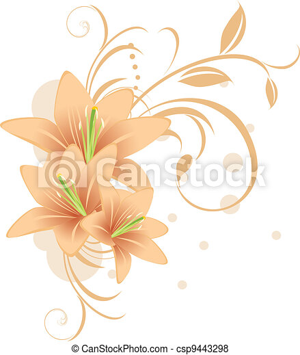 décoratif, lis, ornement - csp9443298