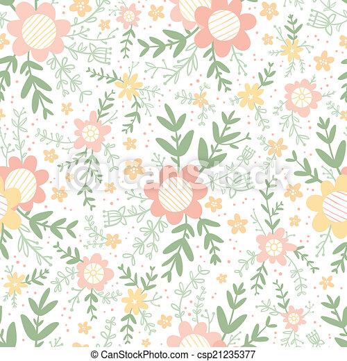 décoratif, modèle pastel, seamless, floral, compositions - csp21235377