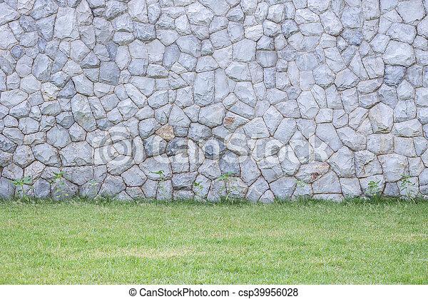 Photo de stock de décoratif, mur, jardin pierre, extérieur ...