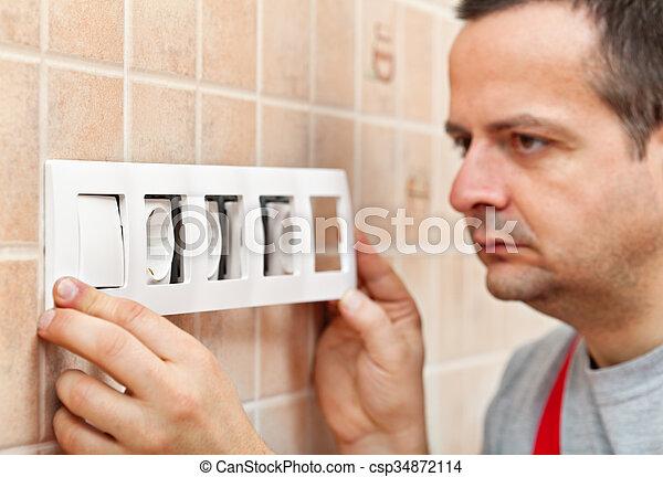 décoratif, mur, monture, rencontre, électrique, panneau - csp34872114