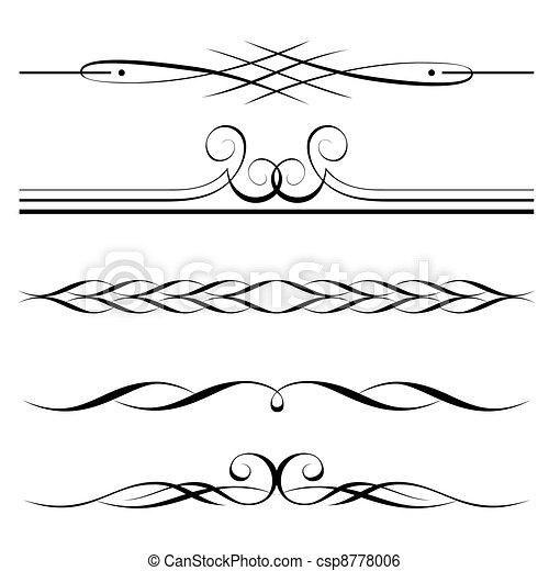 décoratif, règles, frontière, éléments, page - csp8778006