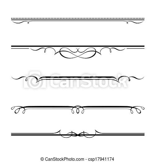 décoratif, règles, frontière, éléments, page - csp17941174