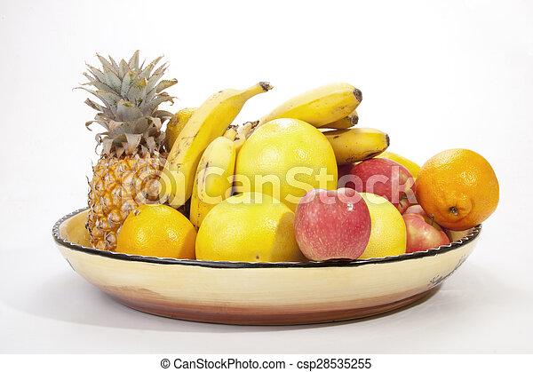 Décoratif, saisonnier, coloré, bol, fruit tropical. on
