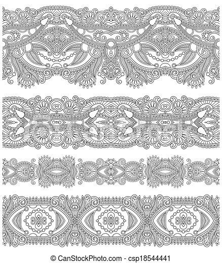 décoratif, seamless, collection, noir, floral, raies, blanc - csp18544441