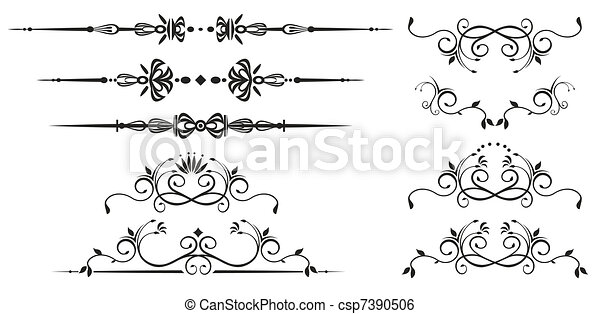 décoratif, tourbillon, éléments - csp7390506