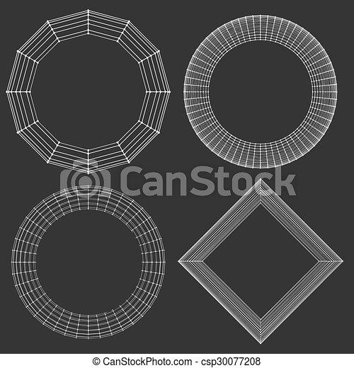 décoratif, vecteur, lattice., frame., poligonal., résumé, maille, grille, polygons., moléculaire, structural - csp30077208