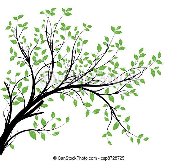 décoratif, vecteur, silhouette, branche - csp8728725