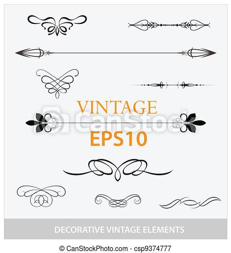 décoratif, vendange, éléments, ensemble, grand - csp9374777