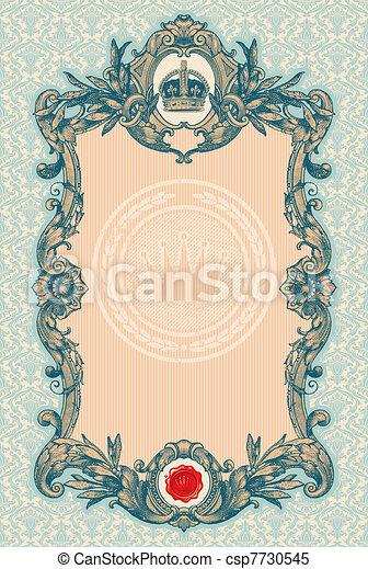 décoratif, vendange, cadre, vecteur, orné, gravé - csp7730545
