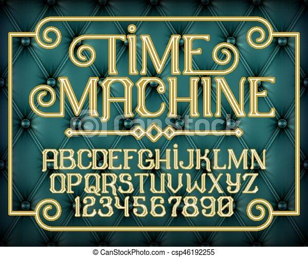 décoratif, vendange, machine, police, temps - csp46192255