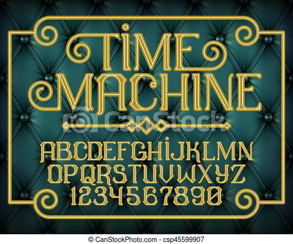 décoratif, vendange, machine, police, temps - csp45599907