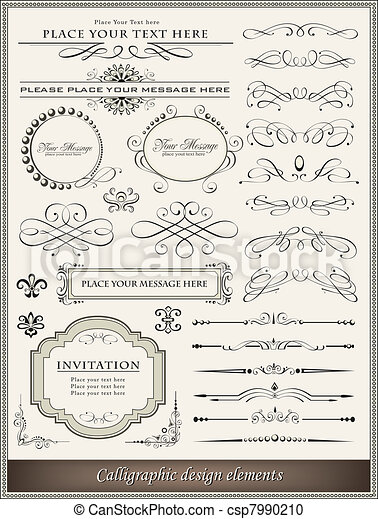 décoration, éléments, conception, page, calligraphic - csp7990210
