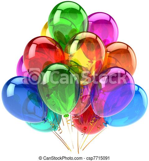 décoration, anniversaire, ballons, heureux - csp7715091