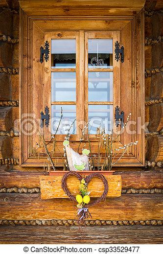 Fenetre Rustique décoration, bois, rustique, fenêtre, petite maison, paques.
