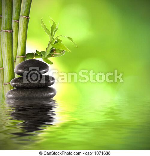 décoration, fonds, bambou, troncs, spa - csp11071638