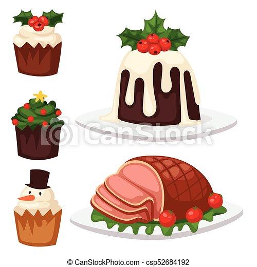 décoration, hiver, fête, nourriture, doux, célébration, noël, traditionnel, desserts, vecteur, fait maison, gâteau, vacances, noël, dish. - csp52684192