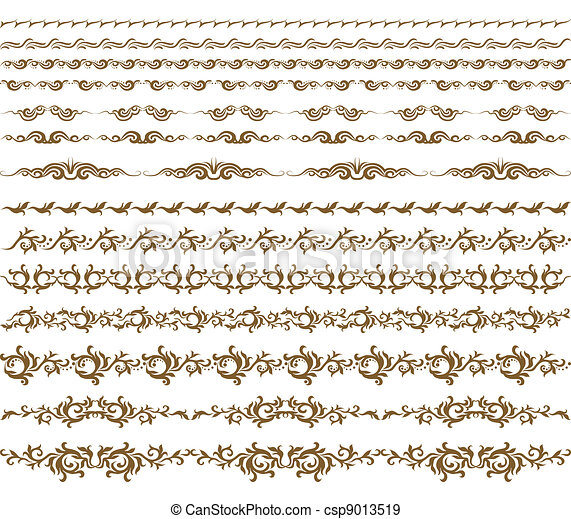 décoration, horizontal, éléments, vecteur - csp9013519