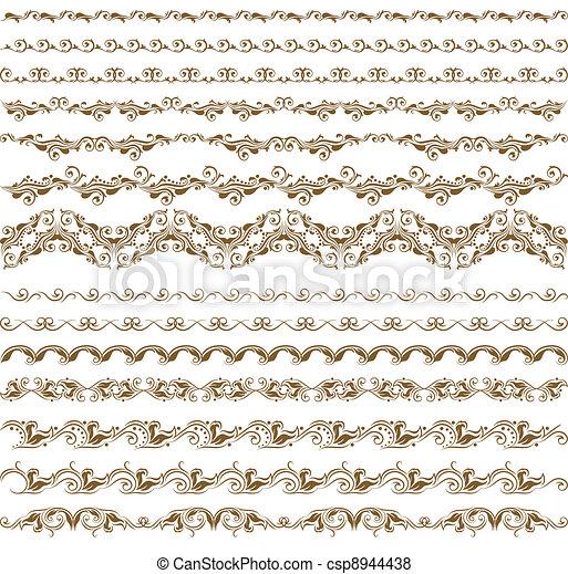 décoration, horizontal, éléments, vecteur - csp8944438