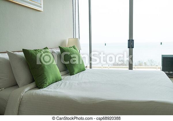 décoration, intérieur, oreiller, lit, chambre à coucher
