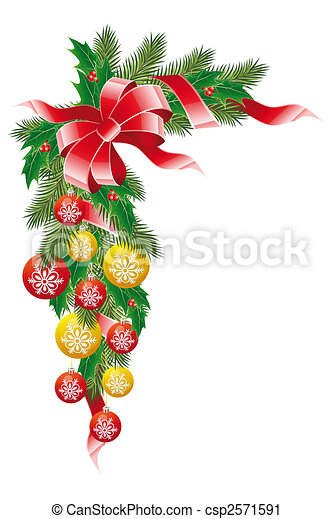 Balles guirlande gui sapin d coration no l clipart for Decoration noel dessin