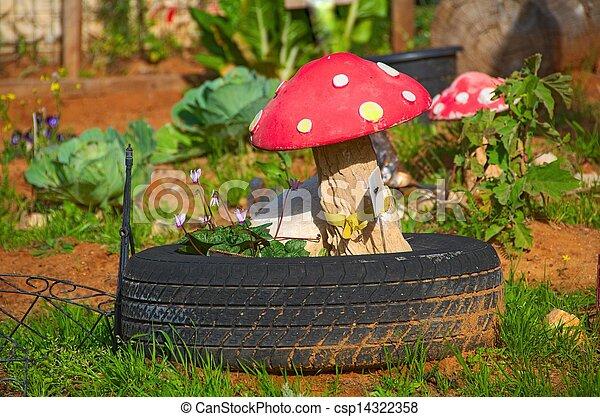 Décoration, préscolaire, jardin, champignon. Garden.,... images de ...
