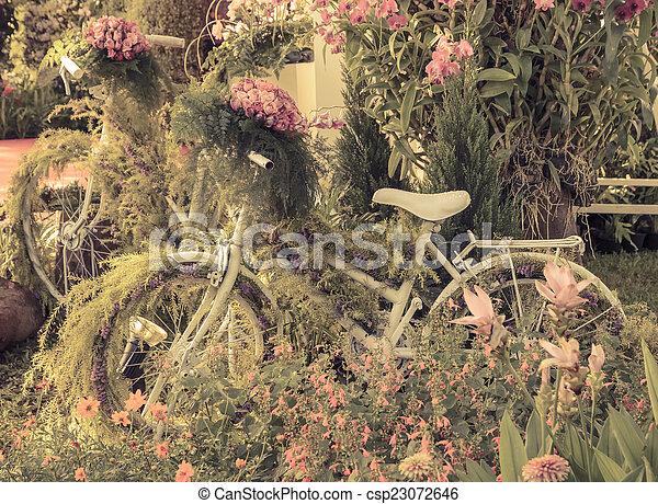 décoration, vendange, vélo, jardin