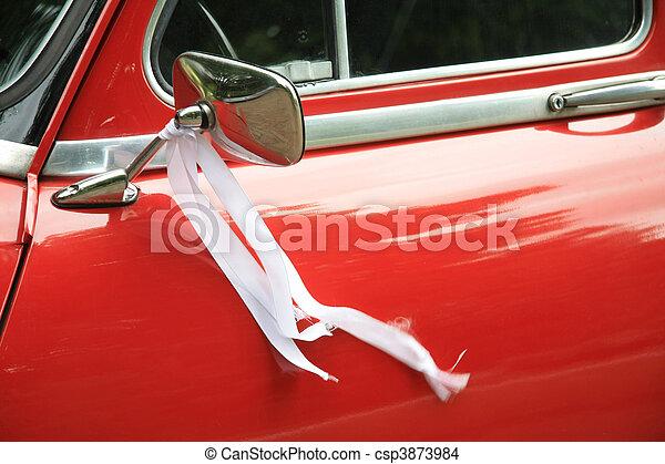 décoration, voiture, ruban blanc, mariage. vendange, miroir, avoir