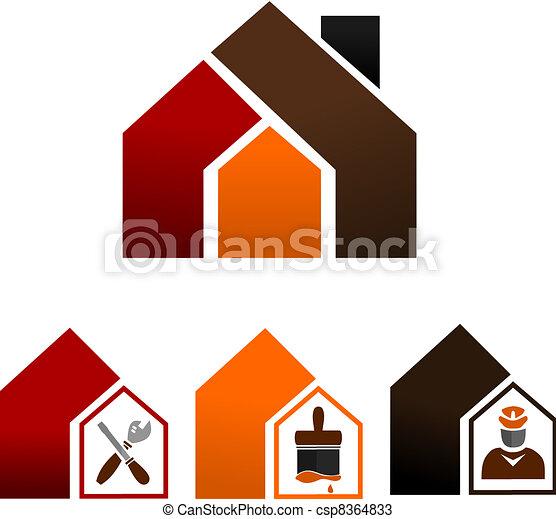 décorer maison, -, icônes - csp8364833