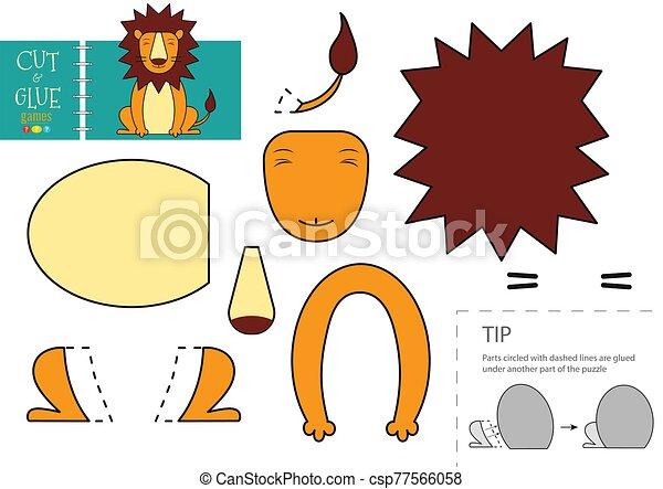 découpage, colle, préscolaire, vecteur, papier, illustration., caractère, kids., jouet, lion, ciseaux, coupure, mignon, modèle - csp77566058