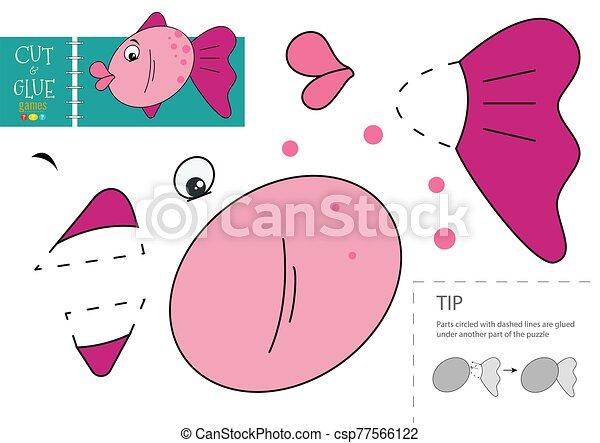 découpage, y, colle, préscolaire, vecteur, papier, illustration., caractère, kids., fish, jouet, ciseaux, coupure, mignon, modèle - csp77566122