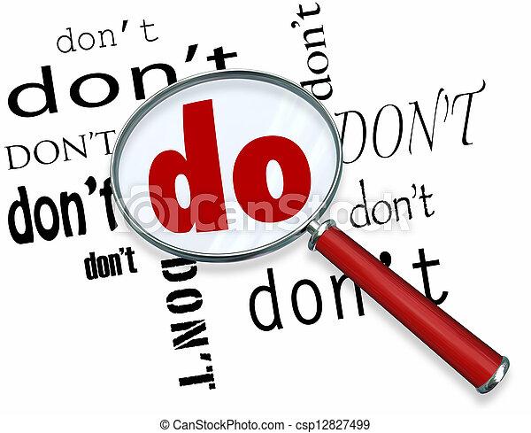 dédié, mot, pas, engagement, verre, magnifier, vs. - csp12827499