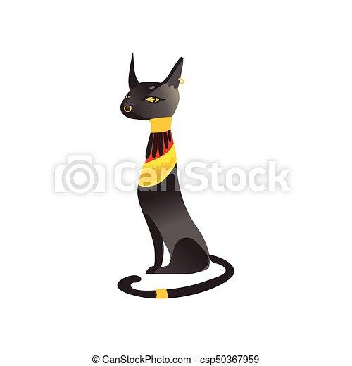 D esse egypte antique chat assis noir bastet dor - Dessin chat assis ...