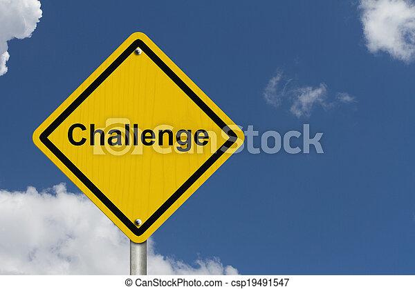 défi, avertissement, devant, signe - csp19491547