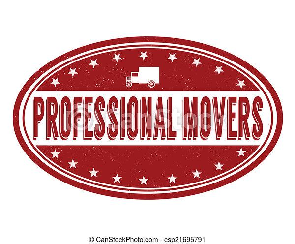 déménageurs, professionnel, timbre - csp21695791
