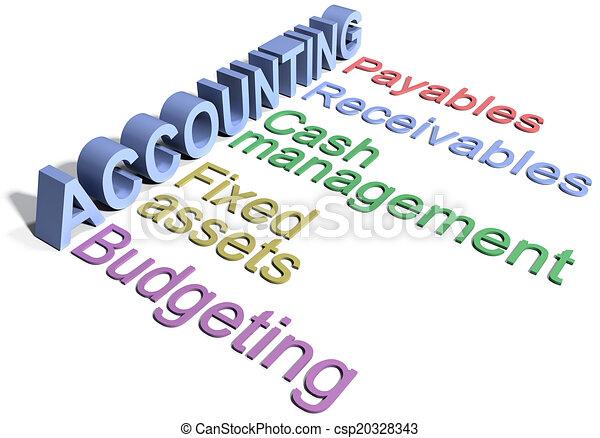 département, comptabilité, affaires entreprise, mots - csp20328343