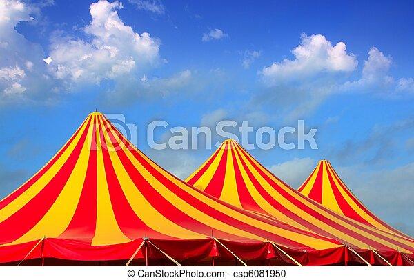 dépouillé, cirque, jaune, modèle, orange, rouges, tente - csp6081950