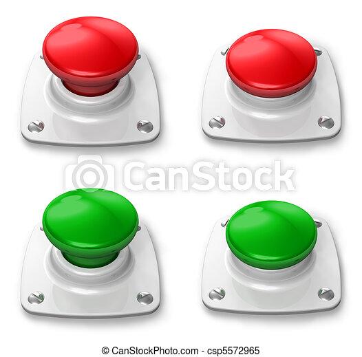 déprimé, bouton, ensemble, pressé - csp5572965