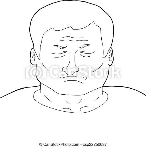 Deprime Contour Homme Yeux Contour Adulte Ferme Dessin Anime