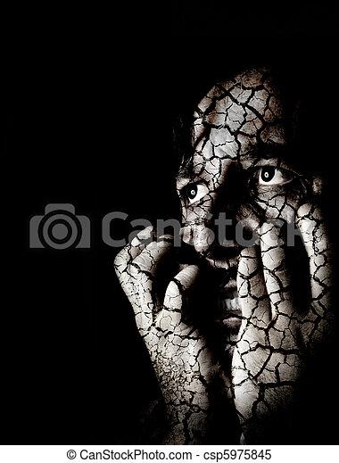déprimé, portrait, closeup, d, triste - csp5975845
