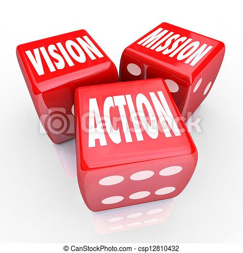 dés, trois, stratégie, rouges, action, mission, vision, but - csp12810432