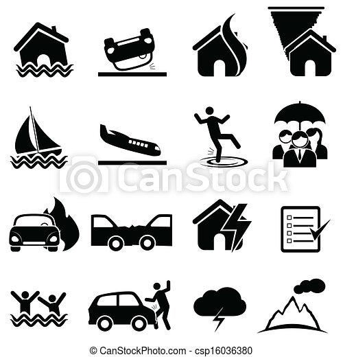 désastre, ensemble, assurance, icône - csp16036380