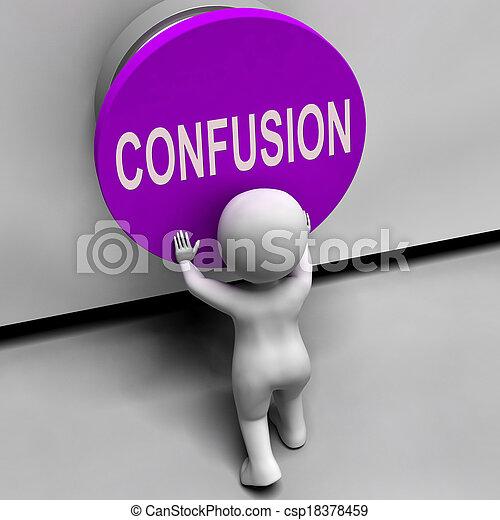 désorienté, embarrassé, moyens, confusion, bouton, confondu - csp18378459