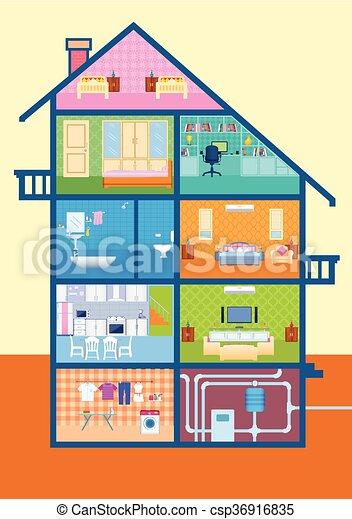 D taill coupure maison int rieur meubles vue d taill coupure maison illustration - Dessin d interieur de maison ...